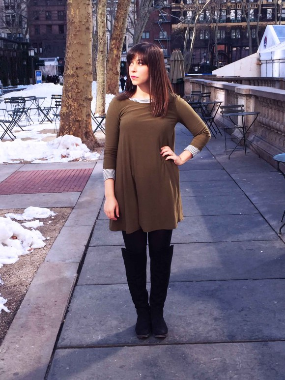Jeanne FBC olive swing dress LOFT striped shirt black tights sole society Andie OTK boots 8
