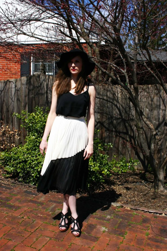 Emily from Fashion By Committee- Banana Republic pleated color block midi skirt, Target wedges, Express Barcelona cami, Kohl's floppy hat, Target wedges