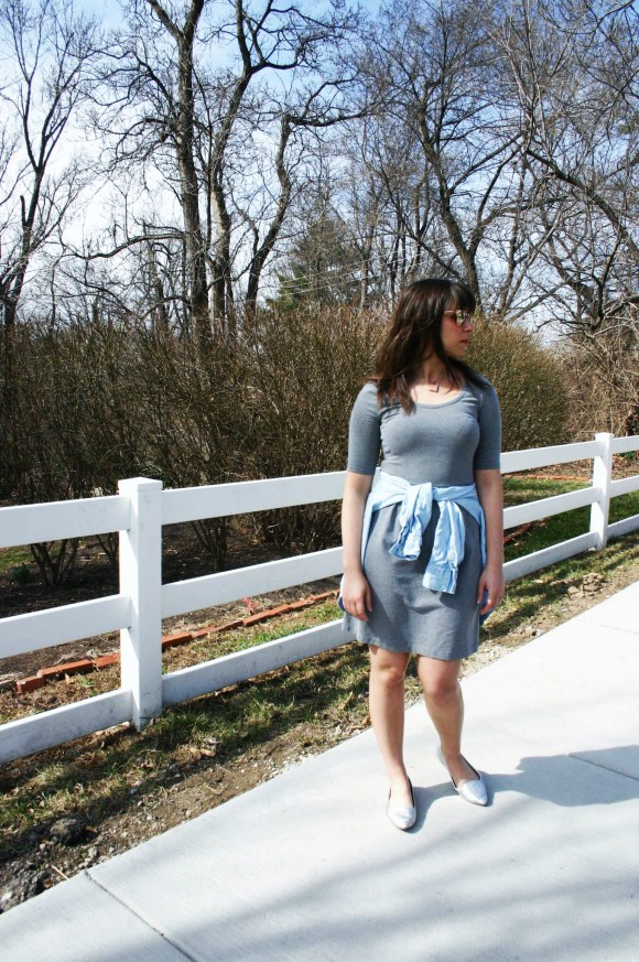 Jeanne FBC Old Navy gray t-shirt dress Target Chambray Shirt Silver Loafers LOFT rose gold retro sunglasses 7