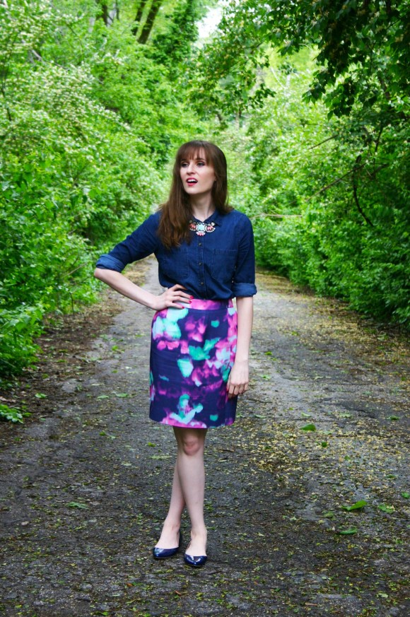 Emily from Fashion By Committee- Kate Spade Skirt, Target chambray shirt, statement necklace, and blue flats