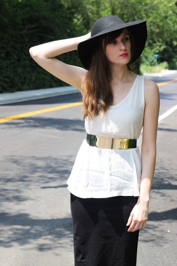 Emily from Fashion By Committee- LOFT blouse tank, Windsor black pencil skirt, H&M gold bar belt, Target wedges, Kohl's black floppy hat, Charming Charlie X-Ring