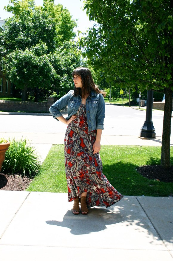 Jeanne FBC Paisley Boutique red printed maxi dress Old Navy cropped jean jacket Circus by Sam Edelman York Cognac Sandals Paisley Boutique gold leaf dangle earrings 3