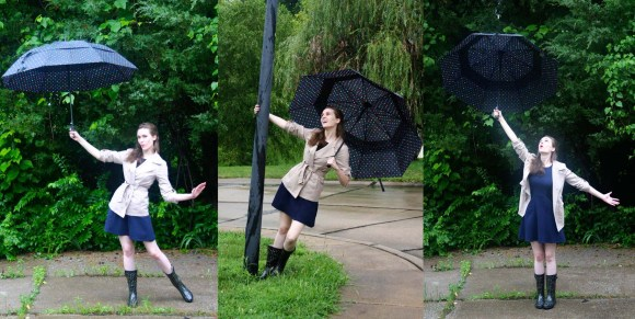 The three stages of posing with an umbrella: Mary Poppins, Gene Kelly, Totoro