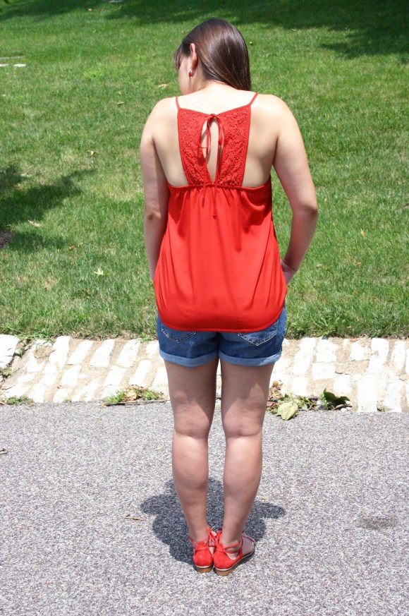 Jeanne FBC Old-Navy-Denim-Shorts-Red-Silk-Cami-Patterned-Lace-Up-Sandals-summer-outfit 2