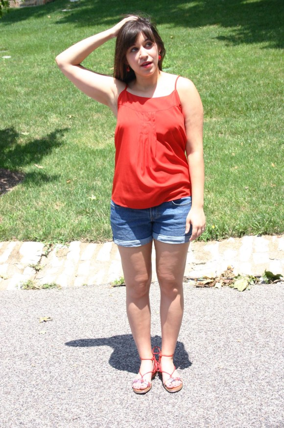 Jeanne FBC Old-Navy-Denim-Shorts-Red-Silk-Cami-Patterned-Lace-Up-Sandals-summer-outfit 3