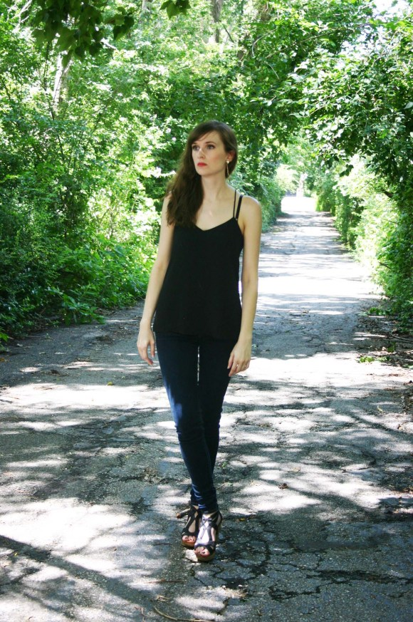 Emily from Fashion By Committee- The Fashion Lane truck triangle drop earrings, Express Barcelona black cami, American Eagle skinny jeans, Target Dolce Vita black cork wedges