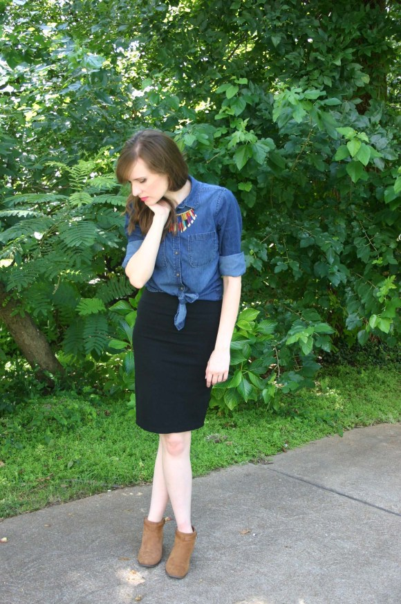 Emily from Fashion By Committee- Target chambray shirt, necklace, Windsor black pencil skirt, Old Navy cognac booties