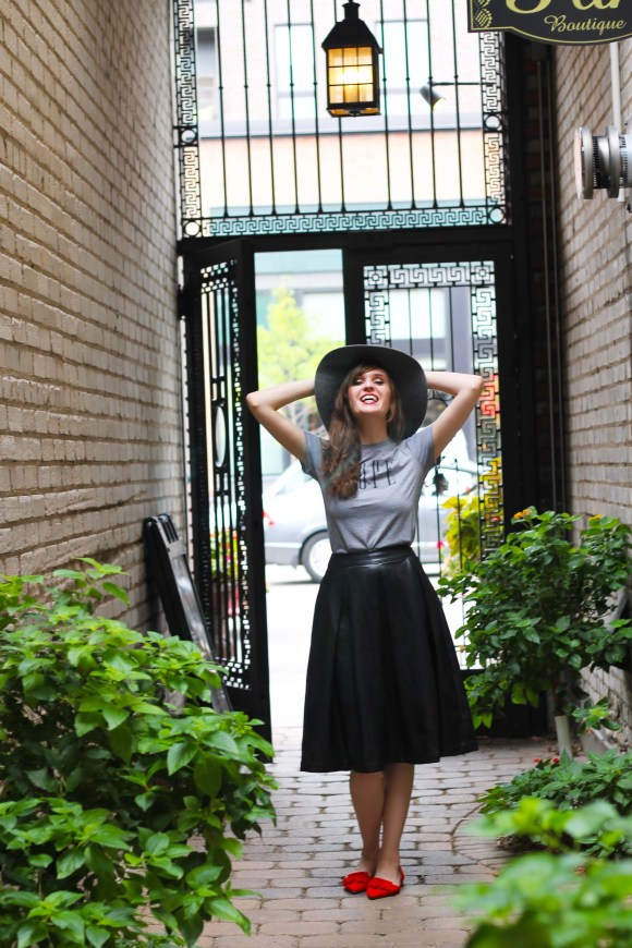 Emily from FBC- Target Who What Wear faux leather birdcage skirt, modern romance NOPE tee, mossimo gray wool floppy fall trend hat, jcrew factory d'orsay red tassel flats