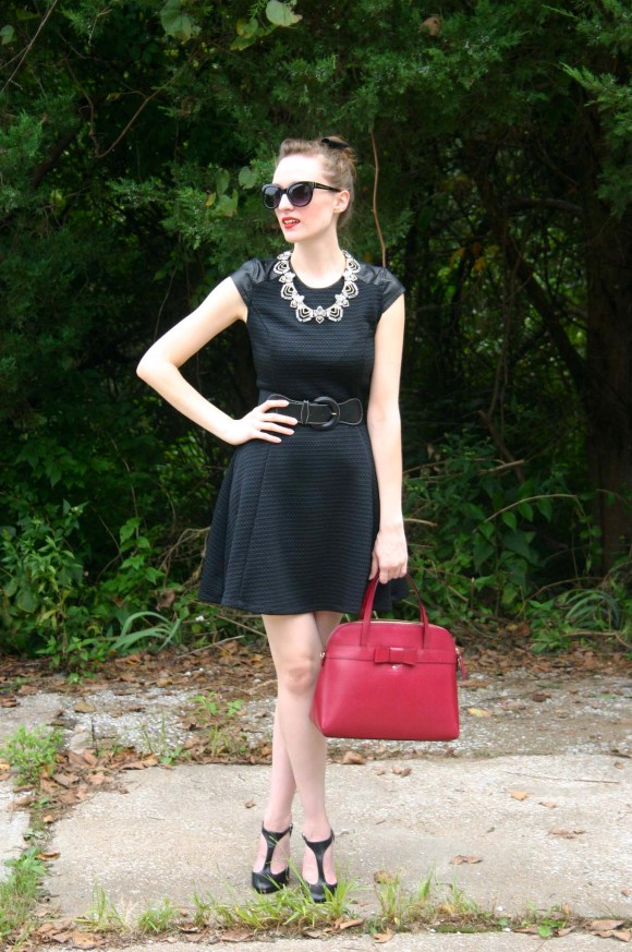 Emily from Fashion By Committee- Target dress, Bauble Bar necklace from Nordstrom Rack, Kohl's heels, Charming Charlie sunglasses, H&M bow, Kate Spade purse
