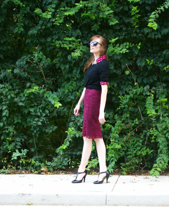 Emily from Fashion By Committee- Express burgundy and white polka dot portofino slim fit blouse, burgundy lace pencil skirt, Target black Mossimo crew neck sweater, gold and silver fashion necklace, Charming Charlie glossy black cat eye sunglasses, Kohl's black t-strap shoes