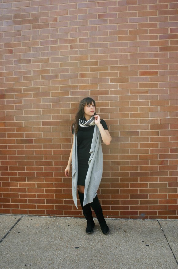 jeanne-fbc-old-navy-black-tee-dress-gray-waterfall-draped-vest-hm-patterened-tube-scarf-sole-society-andie-over-the-knee-boots-gold-tassel-earrings-fall-fashion-3