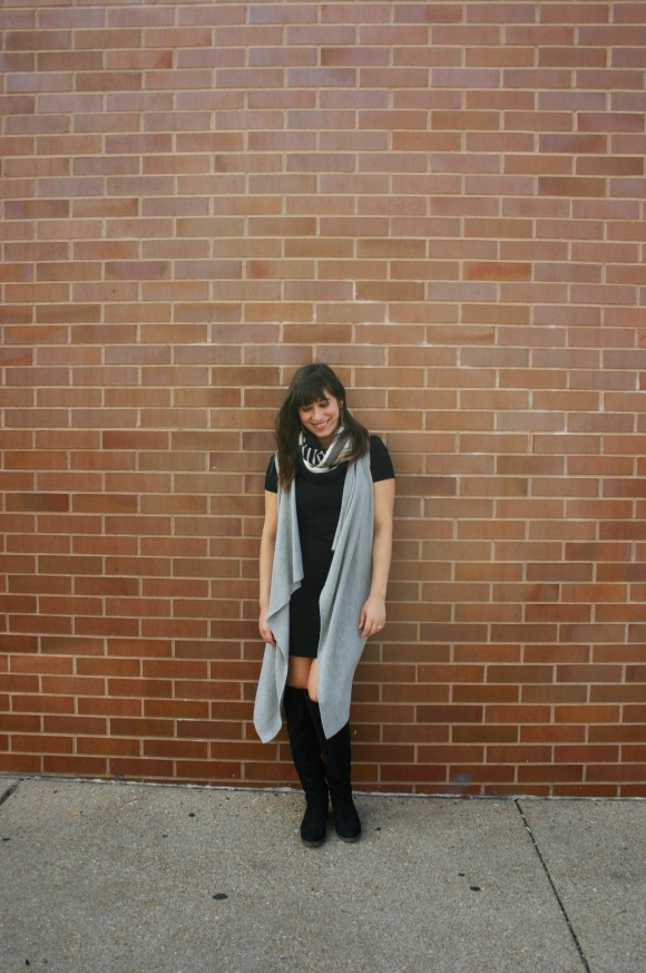 jeanne-fbc-old-navy-black-tee-dress-gray-waterfall-draped-vest-hm-patterened-tube-scarf-sole-society-andie-over-the-knee-boots-gold-tassel-earrings-fall-fashion-4