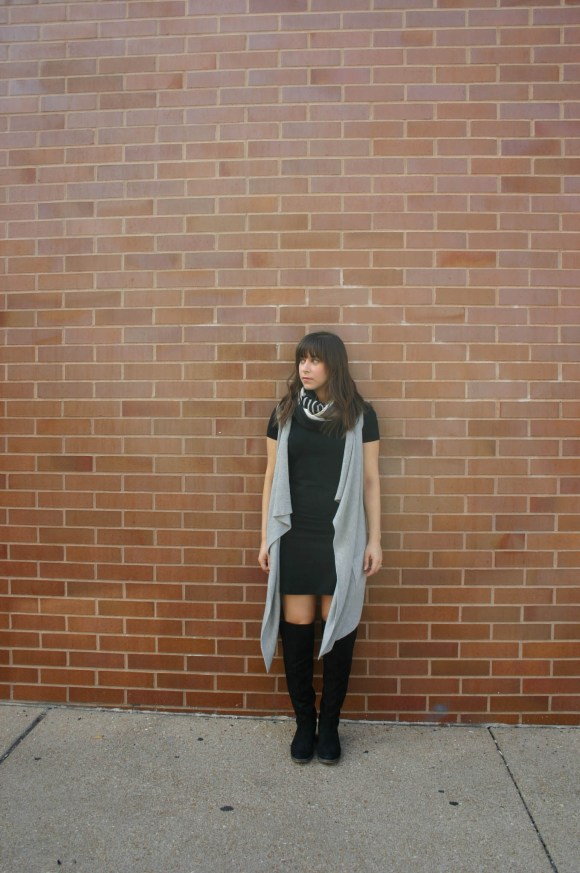 jeanne-fbc-old-navy-black-tee-dress-gray-waterfall-draped-vest-hm-patterened-tube-scarf-sole-society-andie-over-the-knee-boots-gold-tassel-earrings-fall-fashion-6