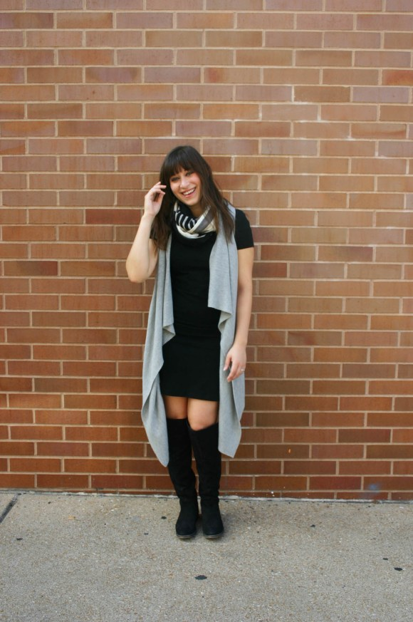 jeanne-fbc-old-navy-black-tee-dress-gray-waterfall-draped-vest-hm-patterened-tube-scarf-sole-society-andie-over-the-knee-boots-gold-tassel-earrings-fall-fashion-8