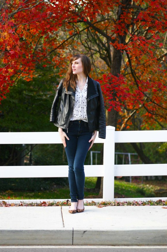 Emily from Fashion By Committee- Express slim fit safety pin print portofino shirt, American Eagle jeggings, Target Mossimo faux leather moto jacket, Target merona drew pointed toe leopard print