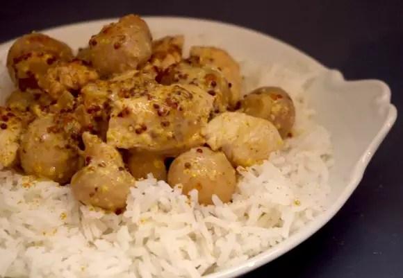 Poulet moutarde l 39 ancienne curry et champignons - Cuisiner champignons de paris frais a la poele ...