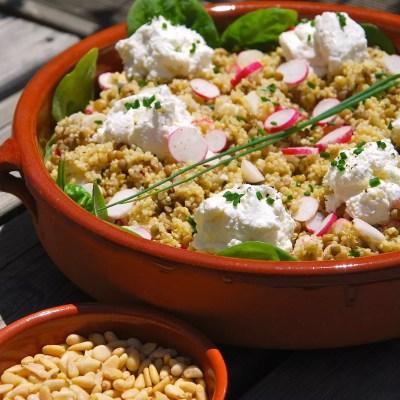 Salade quinoa/lentilles au chèvre et aux radis