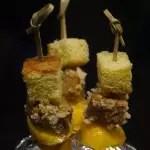 Brochettes crépitantes foie gras-mangue