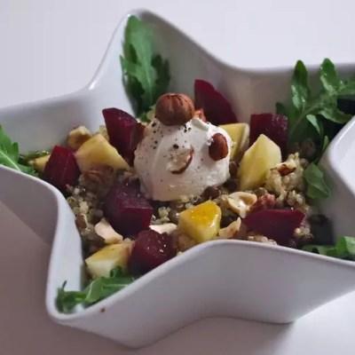 Salade quinoa/lentilles, betteraves, pommes et chèvre & Vinaigrette de Caro