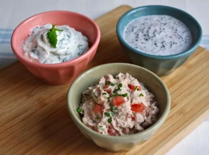 trio sauces dips apéro, rillettes de thon, crème fraîche-oeufs de lompe, fromage frais-menthe