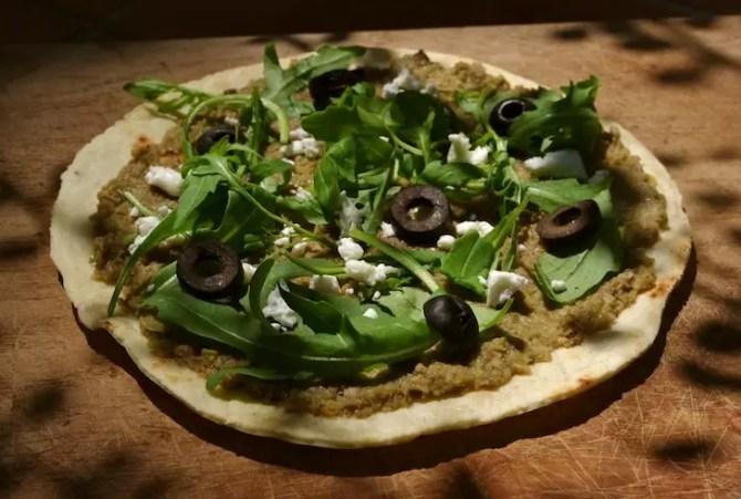 pizzas aubergines olives vertes à la poêle