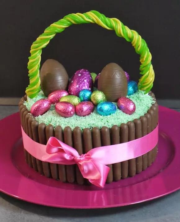 G teau panier de p ques chocolat coco en vid o - Decoration table de paques ...