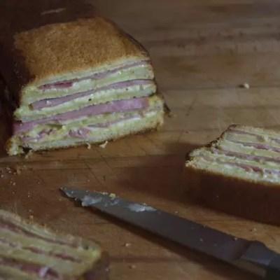Croc'Cake (cake croque-monsieur à la crème de roquefort)