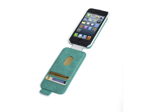 Portafolio Flip Wallet for iPhone 5 Ostrich-Teal