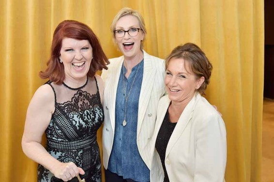 BEVERLY HILLS, CA - JUNE 13: Kate Flannery, Jane Lynch and SAG-AFTRA President Gabrielle Carteris attend the Women In Film 2018 Crystal + Lucy Awards presented by
