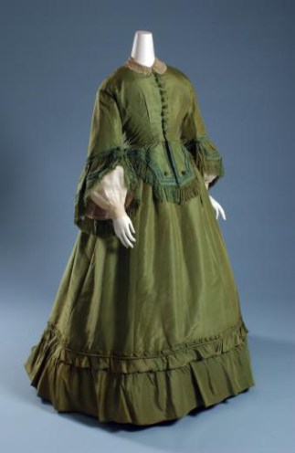 Day dress, green silk faille and green chenille, circa 1865
