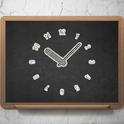 Time concept: Clock icon on Black chalkboard on grunge wall background, 3d render