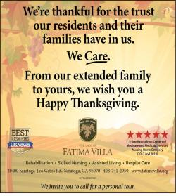 Distinguished Our Lady Residents Saratoga Happy Thanksgiving Message To Saratoga Fatima Villa Sent Thanksgiving Wishes To Ourcommunity Message News Our Lady Of