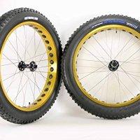 26 inch Fat Tire Bike Gold Weinmann 80HL Wheels Novatech Thru Axle Hubs 26 x 4.5 Vee Snowshoe Tires and Tubes