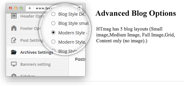 Advanced Blog Options - HTmagazine - Moderne Magazine,News & Blog WordPress Theme