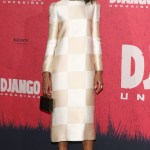 Kerry was among the first to rock Louis Vuitton's now ubiquitous checker pattern on the red carpet. Tone-on-tone is super ladylike and styling makes it fun and girly at Django Berlin photo call.