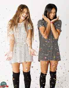 two girls in star confetti, shot by Harris Federman
