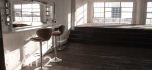 Art 2 with rustic wood floor&platform with staircase