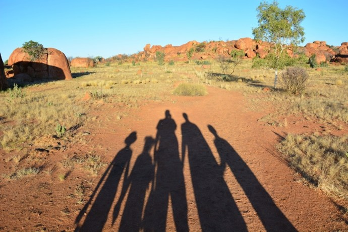 'Fealy Family Walking' at Devil's Marbles - inspired by the 'Big Men Walking' at Aileron