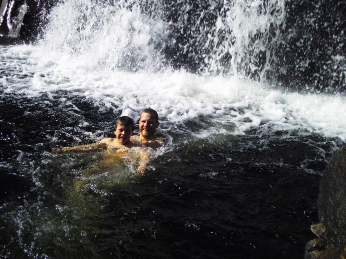 Matt & Jack swam right under the waterfall in the upper pools
