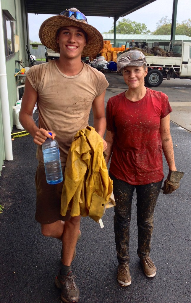 Sarah & Malte after a hard day of mulching - not the most fun job!