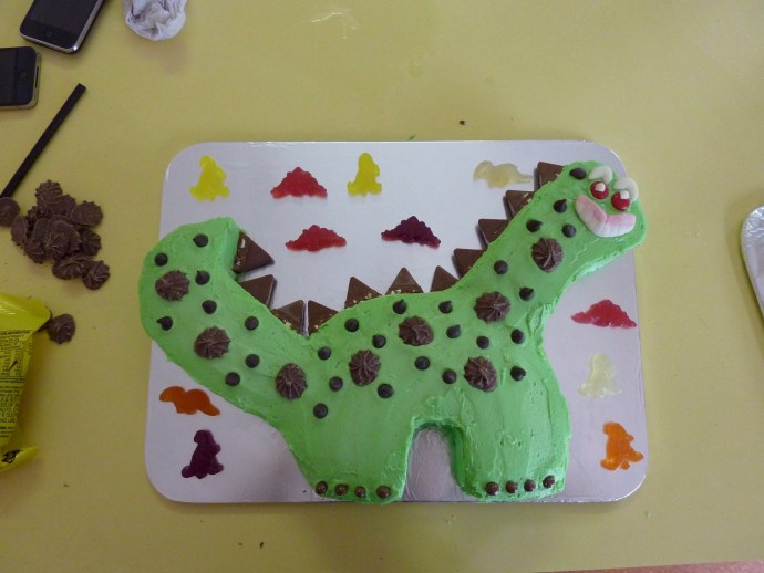 The Dinosaur Cake - matt did all the decorating once again!