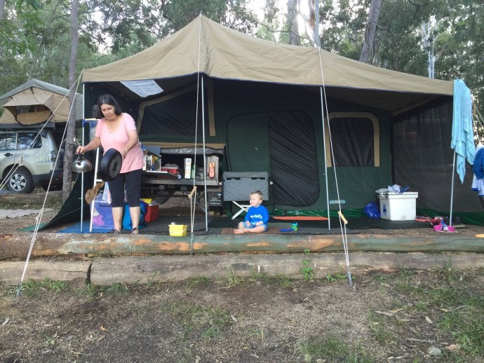 Grammy and Kipp doing some tidying up around the Fealy campsite