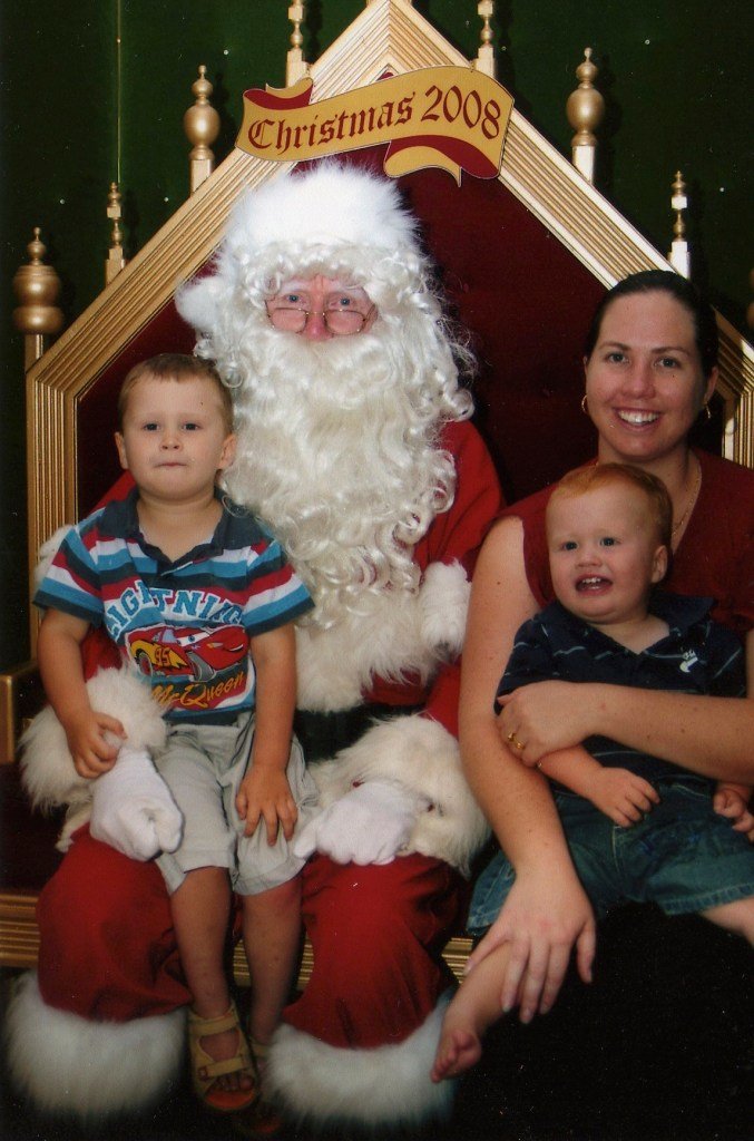 Jack 3, Toby 18mths - Tobes was not impressed with Santa this year - thus the reason Mum is in the photo
