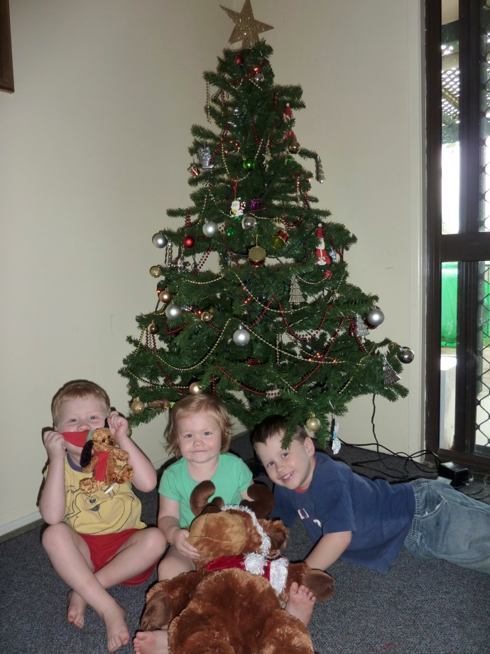 Don't know what happened to the Santa photo this year - must have been too tired and too unorganised! Jack 5, Toby 3, Lexi 1