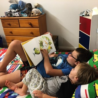 Big bro reading to little bro