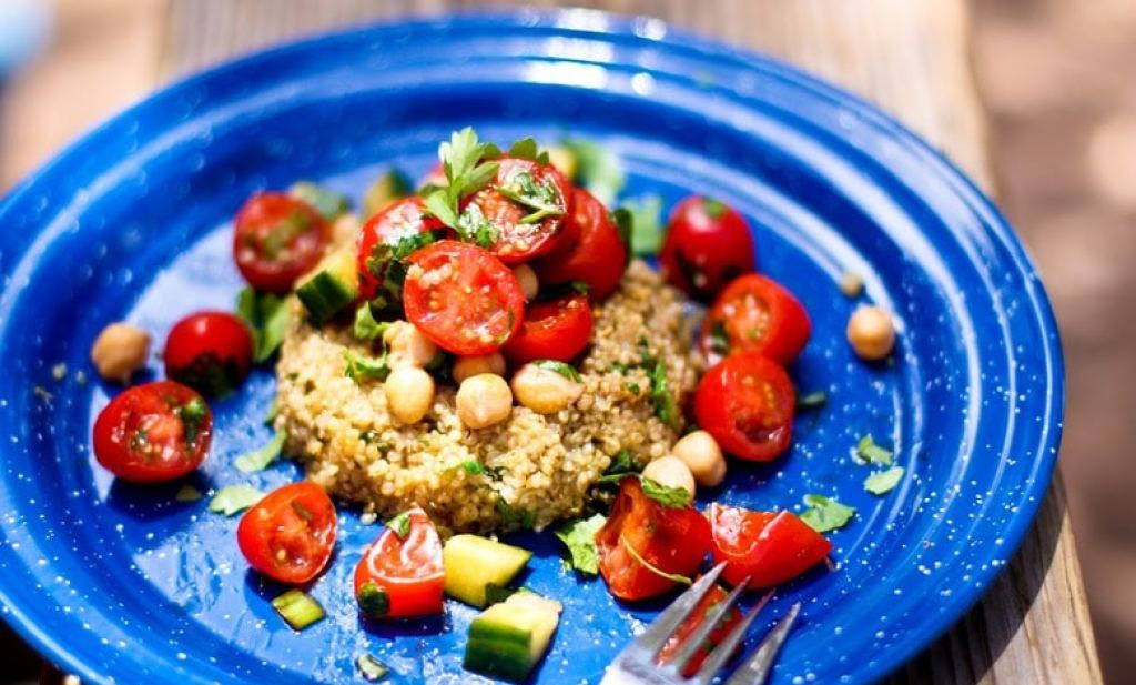 Quinoa Cakes with Cherry Tomato, Mint and Chick Pea Relish | www.feastingathome.com