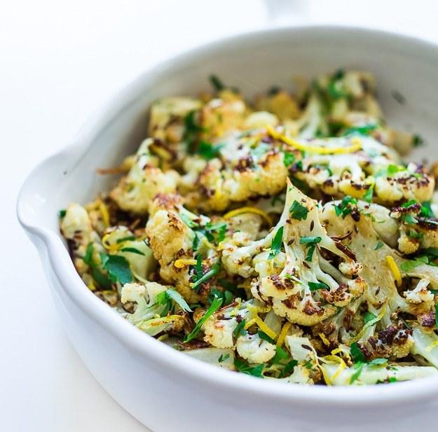 Coriander Cauliflower with garlic, lemon and caraway | www.feastingathome.com