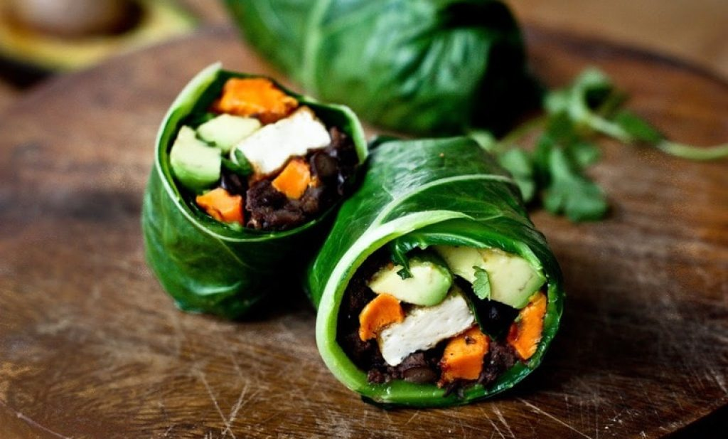 Collard Green Wraps with Roasted Yam and Chipotle Black Beans | www.feastingathome.com