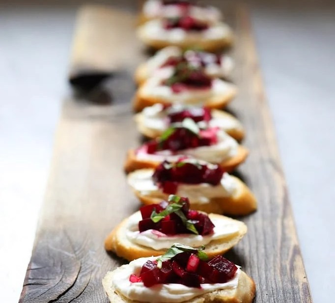 Beet and Basil Bruschetta with Goat Cheese