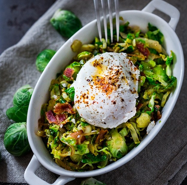 Brussel Sprout Bacon Hash and Soft Poached Eggs